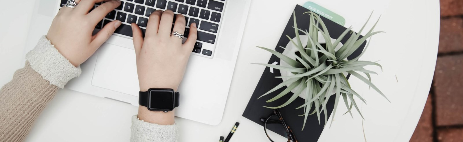Hands wearing a watch and typing on a laptop with an aloe vera plant nearby